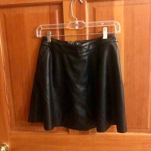 Forever 21 Black Faux Leather Mini Circle Skirt